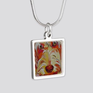 Harvey the Doodle Silver Square Necklace