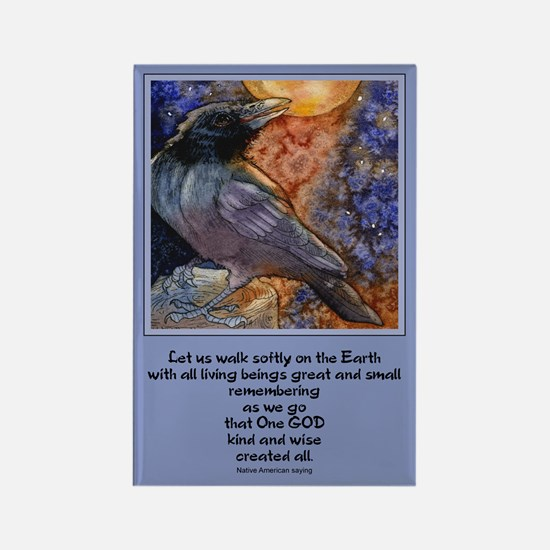 Moonlight Crow Singer Rectangle Magnet
