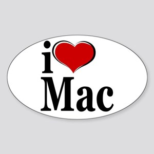 I Love Mac! Oval Sticker