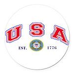 USA USCG Flags Round Car Magnet