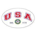 USA USCG Flags Oval Sticker