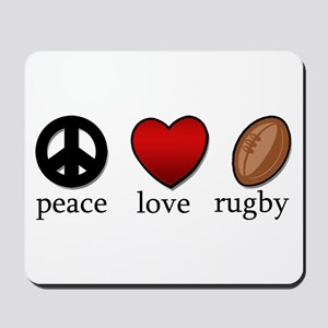 Rugby Peace Love Rugby Mousepad
