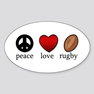 Rugby Peace Love Rugby Sticker (Oval)