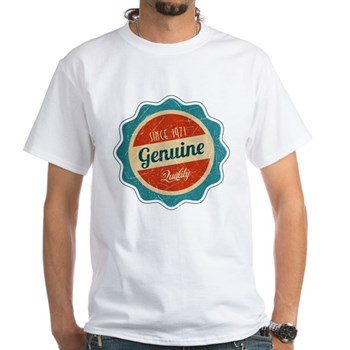Retro Genuine Quality Since 1971 Label White T-Shi