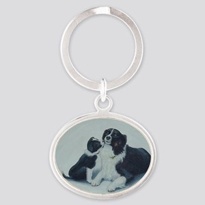 Puppy Kisses Oval Keychain