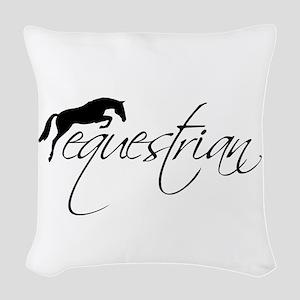 Equestrian w/ Jumping Horse Woven Throw Pillow