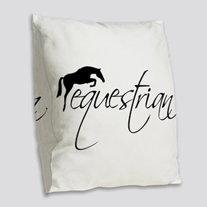 Equestrian w/ Jumping Horse Burlap Throw Pillow