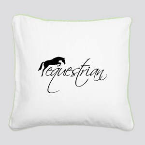 Equestrian w/ Jumping Horse Square Canvas Pillow