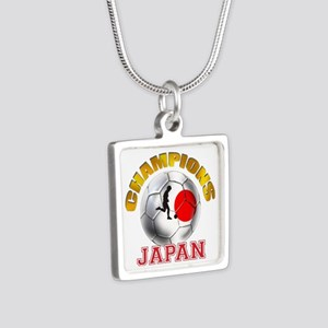 Japanese Soccer Silver Square Necklace
