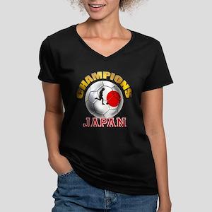 Japanese Soccer Women's V-Neck Dark T-Shirt