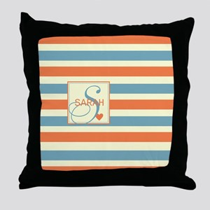 Mid-Tone Stripe Monogram - Personalized Throw Pill
