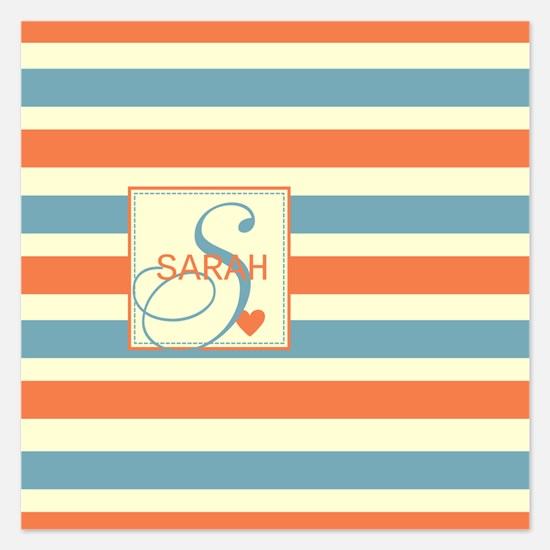 Mid-Tone Stripe Monogram - Personalized 5.25 x 5.2