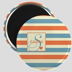 Mid-Tone Stripe Monogram - Personalized Magnet