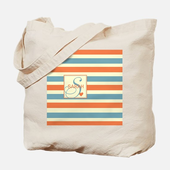 Mid-Tone Stripe Monogram - Personalized Tote Bag
