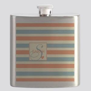 Mid-Tone Stripe Monogram - Personalized Flask