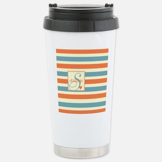 Mid-Tone Stripe Monogram - Personalized Stainless
