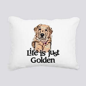 Life is Just Golden Rectangular Canvas Pillow