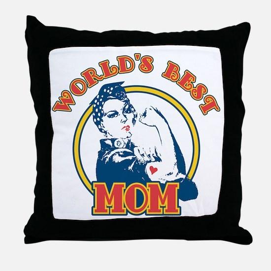 Rosie Riveter Best Mom Throw Pillow