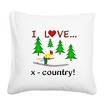 I Love X Country Square Canvas Pillow
