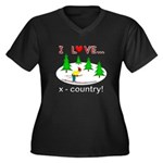 I Love X Country Women's Plus Size V-Neck Dark T-S