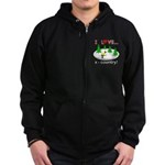 I Love X Country Zip Hoodie (dark)