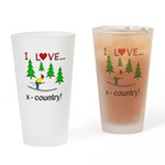 I Love X Country Drinking Glass