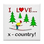 I Love X Country Tile Coaster