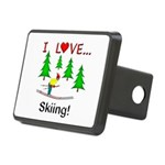 I Love Skiing Rectangular Hitch Cover