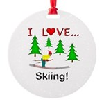 I Love Skiing Round Ornament
