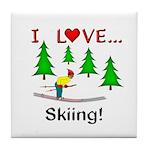 I Love Skiing Tile Coaster
