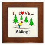 I Love Skiing Framed Tile