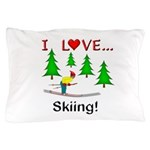 I Love Skiing Pillow Case