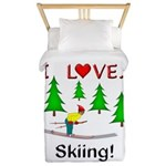 I Love Skiing Twin Duvet