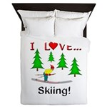 I Love Skiing Queen Duvet