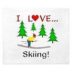 I Love Skiing King Duvet