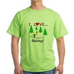I Love Skiing Green T-Shirt