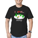 I Love Skiing Men's Fitted T-Shirt (dark)