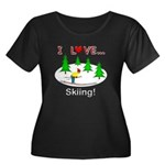 I Love Skiing Women's Plus Size Scoop Neck Dark T-