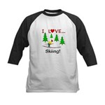 I Love Skiing Kids Baseball Jersey