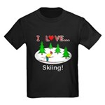 I Love Skiing Kids Dark T-Shirt