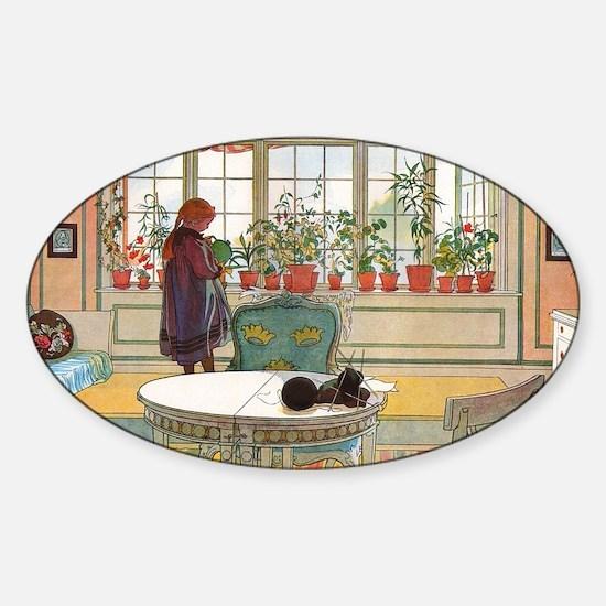 Flowers on the Windowsill by Carl L Sticker (Oval)