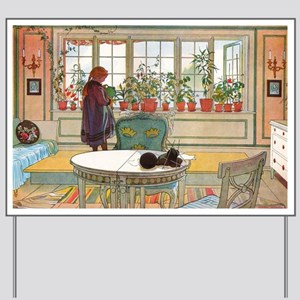 Flowers on the Windowsill by Carl Larsso Yard Sign