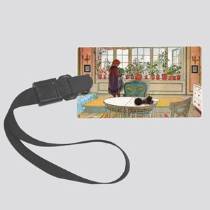 Flowers on the Windowsill by Car Large Luggage Tag