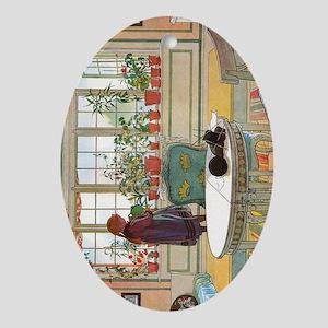 Flowers on the Windowsill by Carl La Oval Ornament