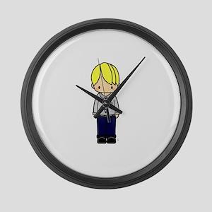 Cute blond teacher boy Large Wall Clock