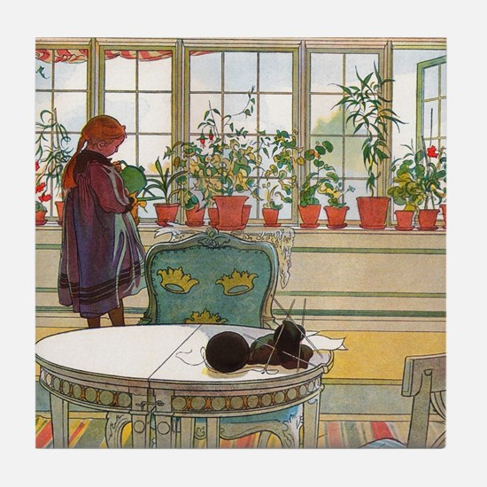 Flowers on the Windowsill by Carl Lar Tile Coaster