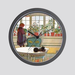 Flowers on the Windowsill by Carl Larss Wall Clock