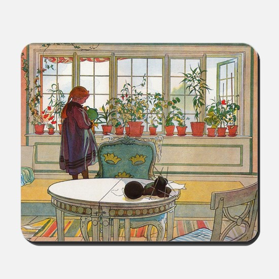 Flowers on the Windowsill by Carl Larsso Mousepad