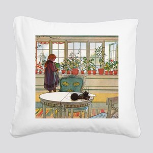Flowers on the Windowsill by  Square Canvas Pillow