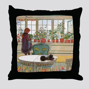 Flowers on the Windowsill by Carl Lar Throw Pillow